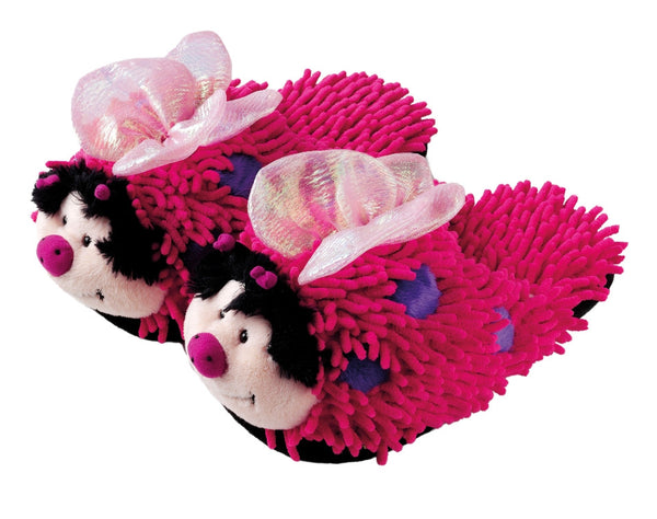 Kids Pink Butterfly Fuzzy Friends Slippers