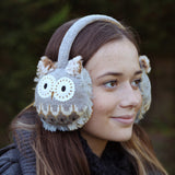 Brown Owl Heated Knitted Ear Muffs