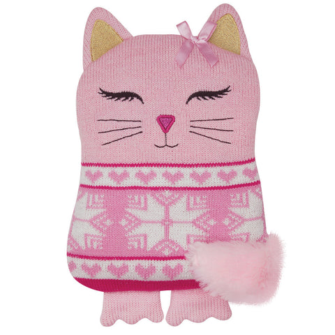 Pink Cat Knitted Microwave Hottie