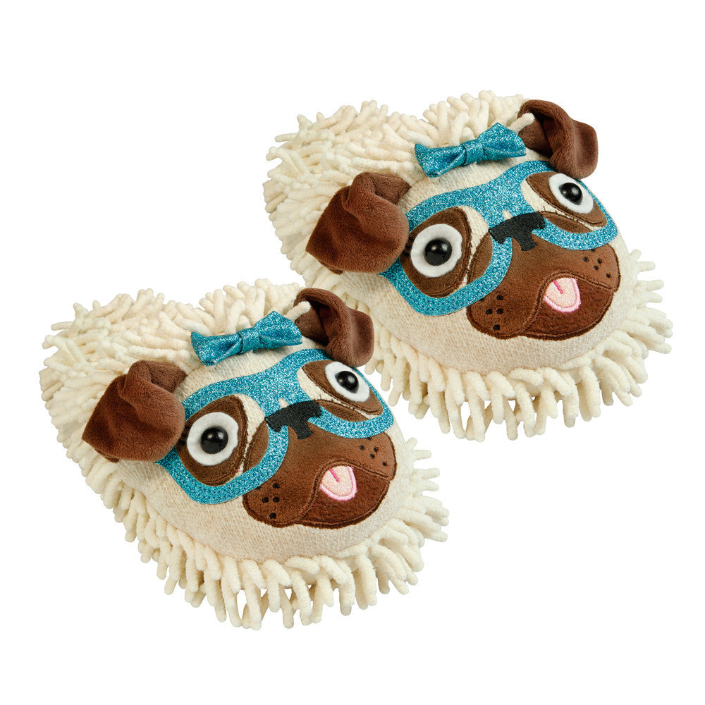 Fuzzy Friends Sparkly Slippers Pug with Glasses