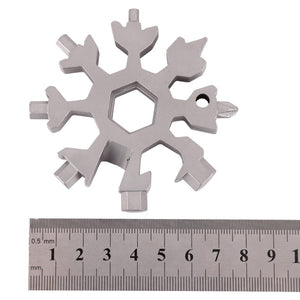18 IN 1 Snowflake Outdoor Equipment EDC Mini Tactical Stainless Steel Tools Card+Ring Survival Tourism Multi Tool Camping