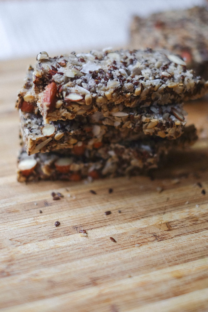 a stuck of slices _ Seed and nut bread recipe