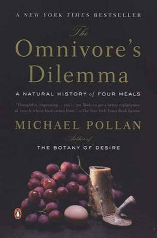 Book cover The Omnivore's Dilemma by Michael Pollan  A New York Times bestseller that has changed the way readers view the ecology of eating, this revolutionary book by award winner Michael Pollan asks the seemingly simple question: What should we have for dinner?  Tracing from source to table each of the food chains that sustain us - whether industrial or organic, alternative or processed - he develops a portrait of the American way of eating.  The result is a sweeping, surprising exploration of the hungers that have shaped our evolution, and of the profound implications our food choices have for the health of our species and the future of our planet.
