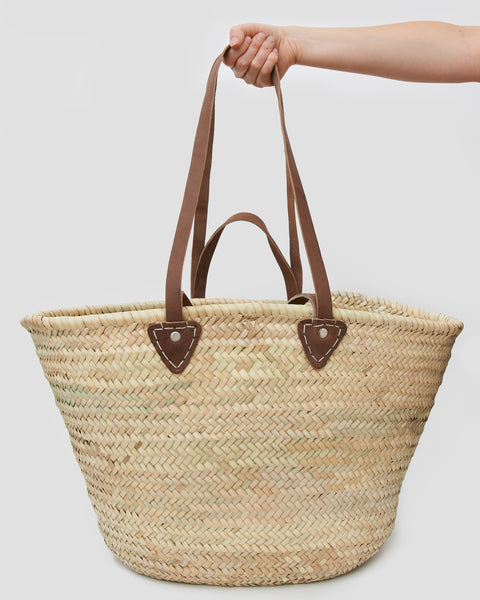 Straw Market Bag woven from natural materials with Leather Straps. French Style Market bag | 'JENTL
