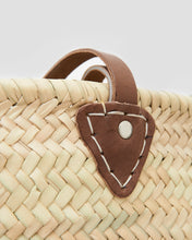 Load image into Gallery viewer, Close up of French Market Basket Bag, Hand woven with natural materials and leather straps. | 'JENTL