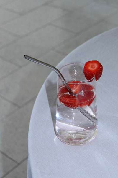 Stainless Steel Drinking Straw in a glass of soda water with strawberries | 'JENTL