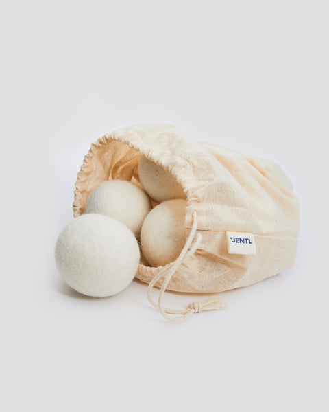 Wool Dryer Balls made from NZ Wool in a cotton canvas bag. A set of 6 in white | 'JENTL