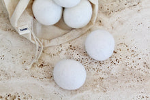 Load image into Gallery viewer, Wool Dryer Balls made from NZ Wool in a cotton canvas bag. A set of 6 in white | 'JENTL