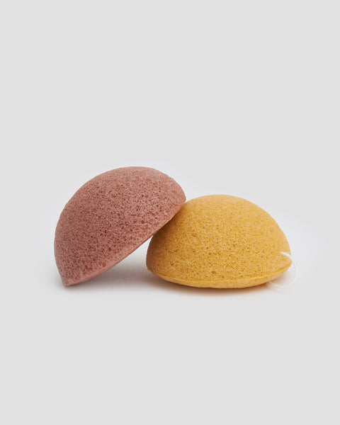100% natural Konjac Sponges with Tumeric and Berries to add colour. Semi circle shape with string to hang up  | 'JENTL