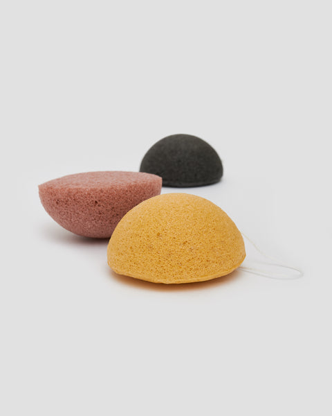 Konjac sponges Black, Pink and Yellow. Half circle with cotton string to hang | 'JENTL