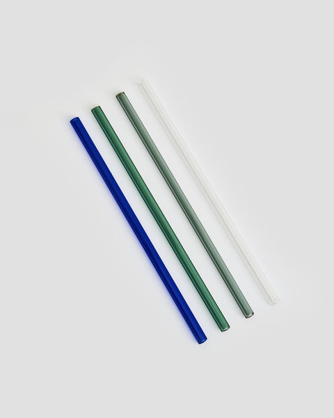 'JENTL Coloured Glass Drinking Straws, Eco friendly, Blue, Teal, Grey & Clear Straws, Cocktail party glass straws