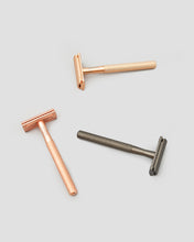 Load image into Gallery viewer, A collection of eco friendly shaving safety razors. Black, Gold and Rose Gold. | 'JENTL