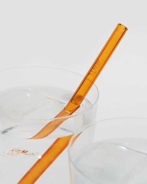 Reusable Amber Glass short drinking straw. Eco friendly alternative | 'JENTL