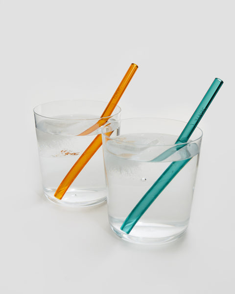 Short reusable glass drinking straws. Teal and Amber. Eco friendly alternative | 'JENTL