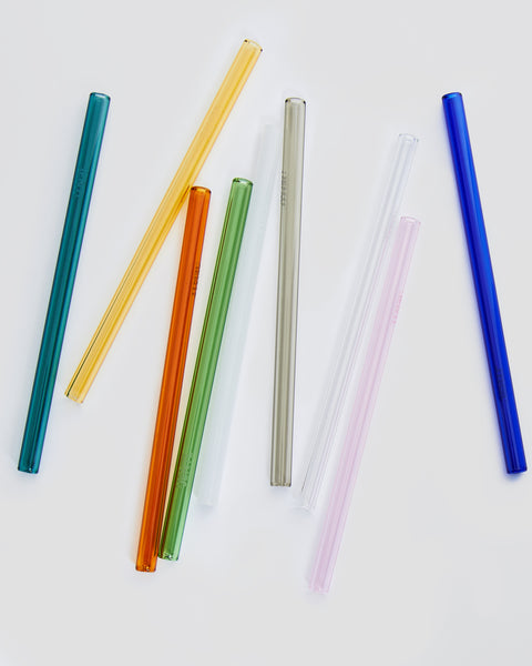 Various coloured glass drinking straws. Yellow pink blue green clear | 'JENTL