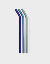 Load image into Gallery viewer, Reusable coloured curved glass straws set with Brush bag | 'JENTL