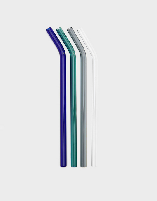 Reusable coloured curved glass straws set with Brush bag | 'JENTL