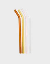 Load image into Gallery viewer, Reusable coloured curved glass straws set with Brush bag, Amber, Yellow, Pink & clear | 'JENTL