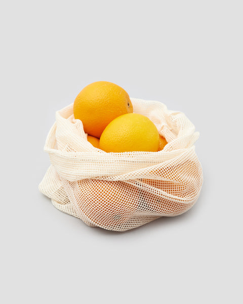 Reusable Cotton Mesh Produce Bag holding oranges | 'JENTL