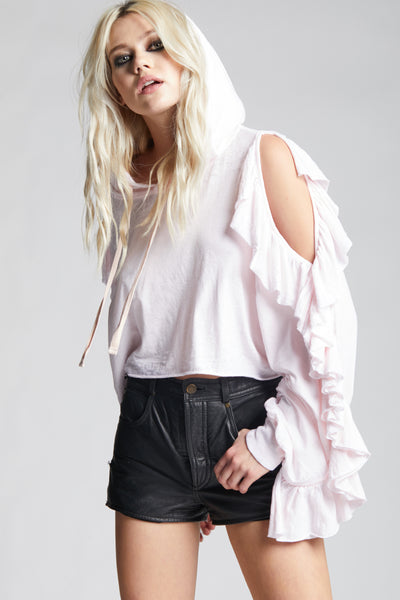 Petal Ruffle Cold Shoulder Crop