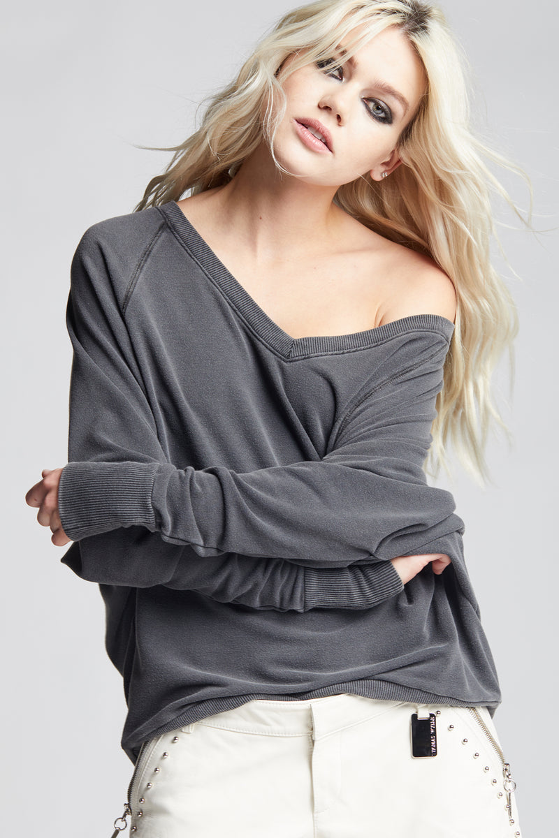 Black Off The Shoulder V-Neck