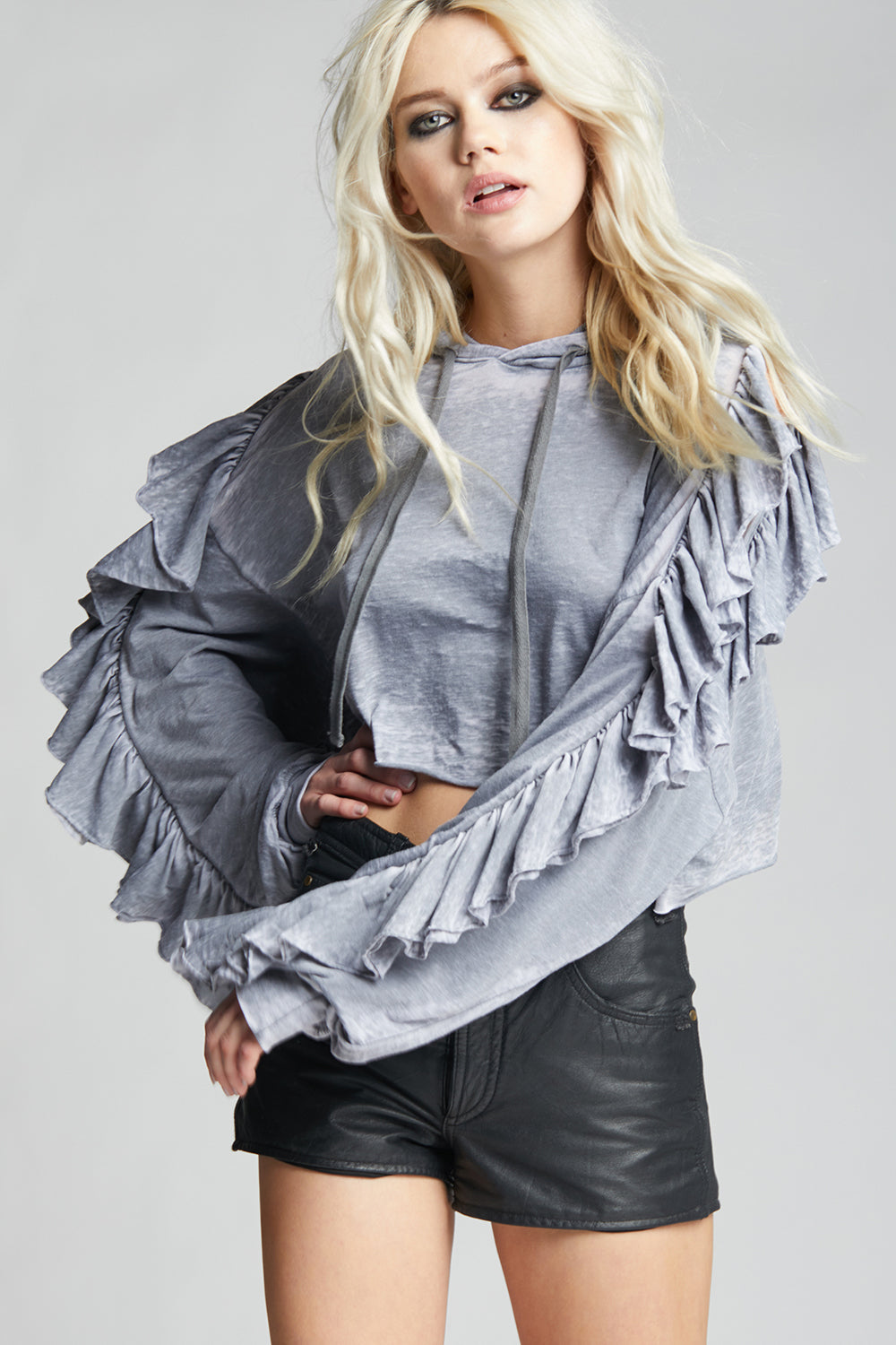 Grey Ruffle Cold Shoulder Crop Hoodie