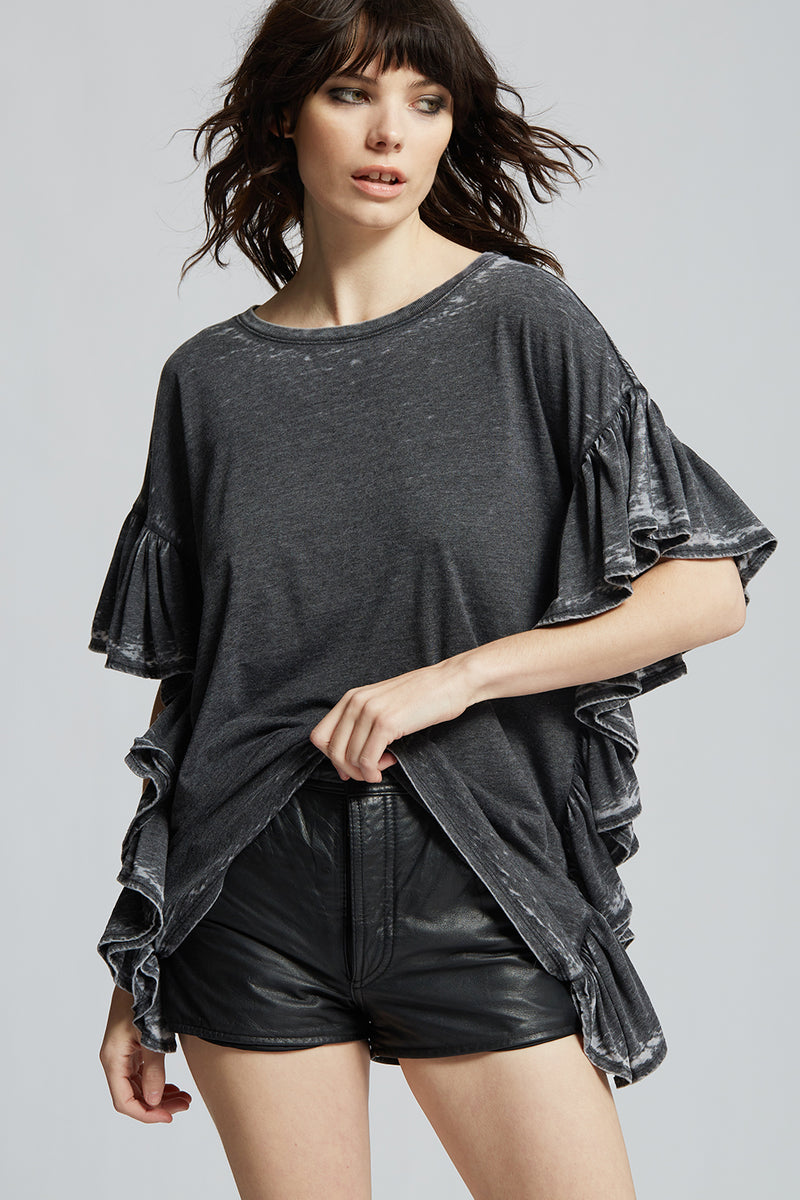 Black Distressed Ruffle Tee