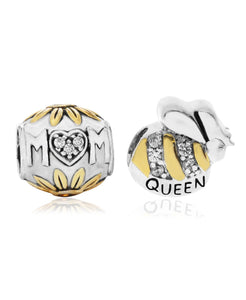 Two-Tone 2-Pc. Set Cubic Zirconia Floral Mom & Queen Bee Bead Charms in Sterling Silver (2 colors) - Rhona Sutton Jewellery