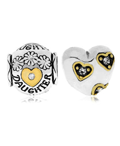 Two-Tone 2-Pc. Set Cubic Zirconia Floral Daughter & Heart Bead Charms in Sterling Silver - Rhona Sutton Jewellery