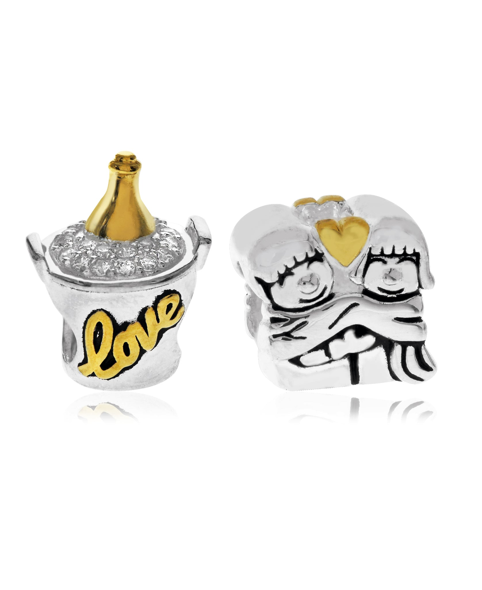 Two-Tone 2-Pc. Set Cubic Zirconia Champagne and Lovers Bead Charms in Sterling Silver (2 colors) - Rhona Sutton Jewellery