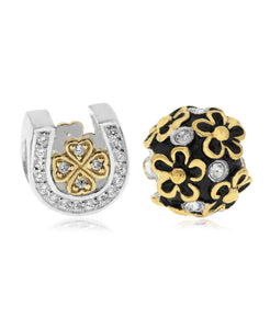 Two-Tone 2-Pc. Set Cubic Zirconia Lucky Horseshoe & Flower Bead Charms in Sterling Silver (2 colors) - Rhona Sutton Jewellery