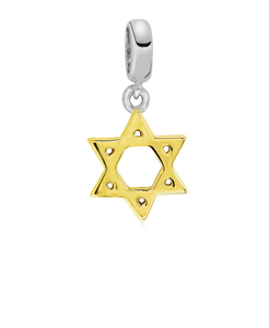 Two-Tone Star of David Bead Charm in Sterling Silver (2 colors) - Rhona Sutton Jewellery