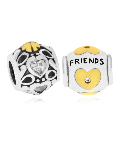 Two-Tone 2-Pc. Set Cubic Zirconia Hearts & Friends Bead Charms in Sterling Silver (2 colors) - Rhona Sutton Jewellery