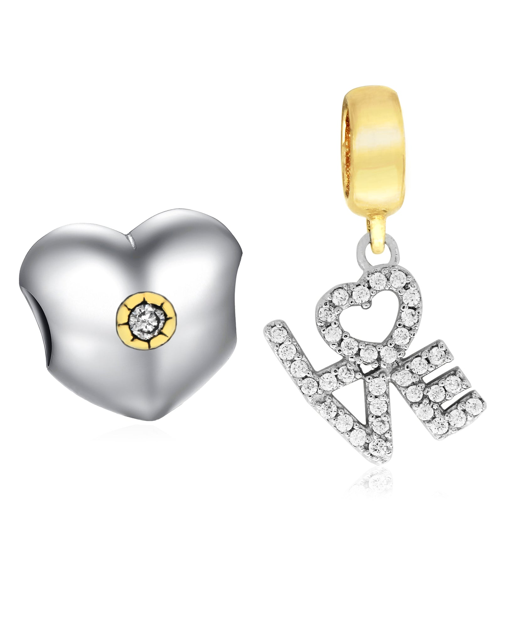 Two-Tone 2-Pc. Set Cubic Zirconia Heart & Love Charms in Sterling Silver (2 colors) - Rhona Sutton Jewellery