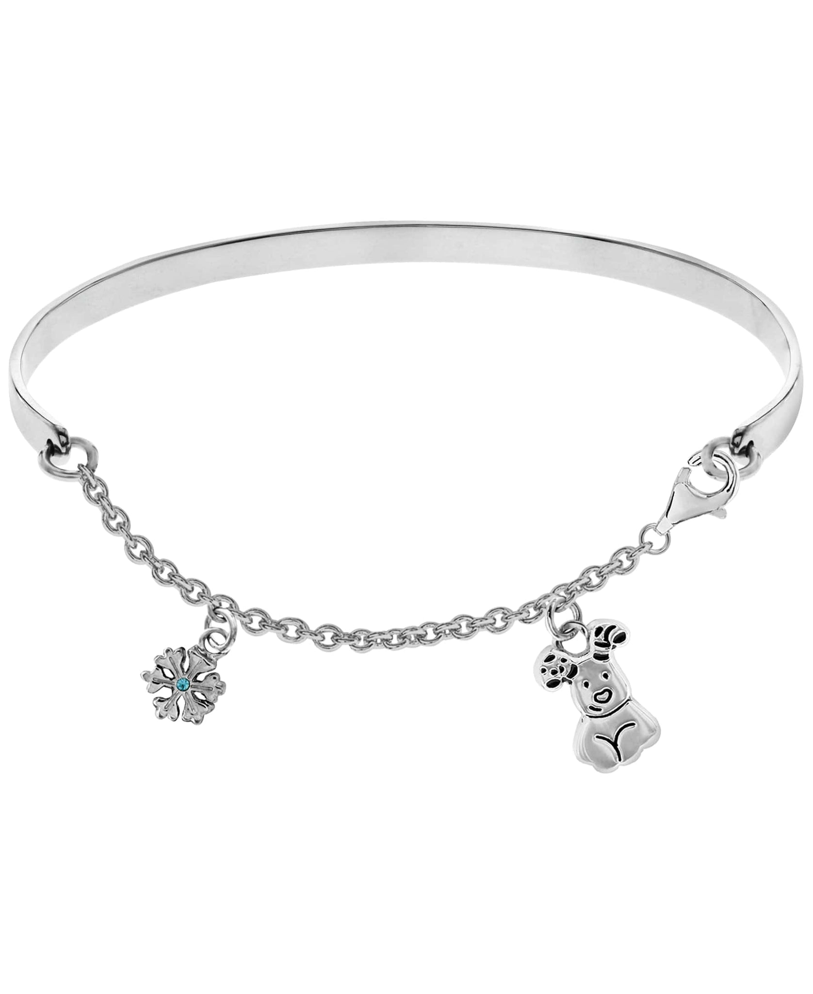 Snowman Snow and Snowdog Charm Bangle Bracelet - Rhona Sutton Jewellery