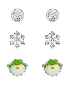 Snowman Cubic Zirconia Snowflake Set of 3 Stud Earrings - Rhona Sutton Jewellery