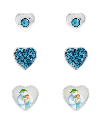 Snowman Cubic Zirconia Hearts Set of 3 Stud Earrings - Rhona Sutton Jewellery