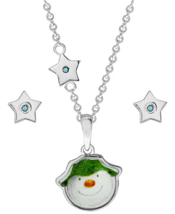 Snowman Pendant Necklace and Star Earring Set - Rhona Sutton Jewellery