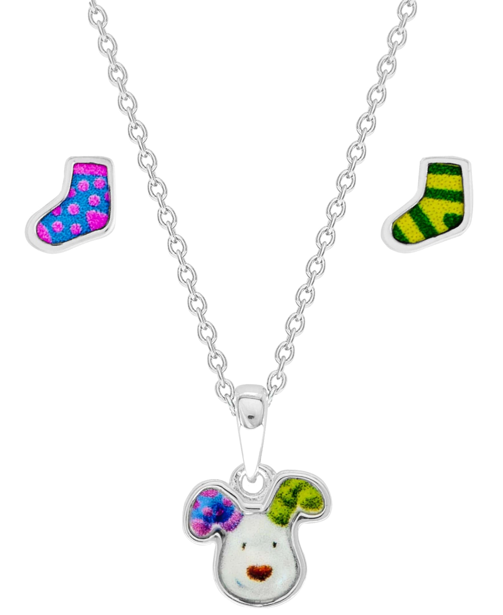 Snowman Pendant Necklace and Stocking Earring Set - Rhona Sutton Jewellery