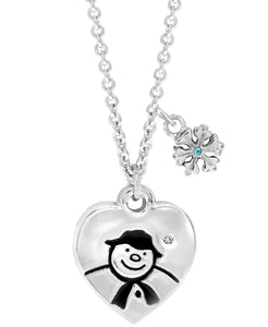 Snowman Heart Pendant Necklace - Rhona Sutton Jewellery