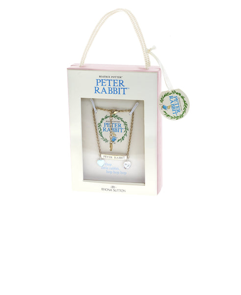 Beatrix Potter Children's Gold Peter Rabbit ID and Heart Charm Bracelet - Rhona Sutton Jewellery