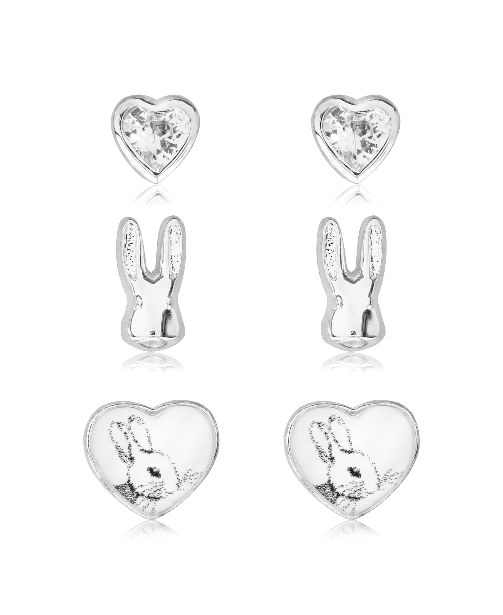 Beatrix Potter Peter Rabbit and Hearts Set of 3 Stud Earrings - Rhona Sutton Jewellery