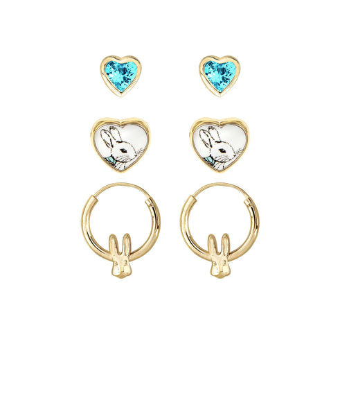 Beatrix Potter Peter Rabbit Heart Studs and Hoop Set of 3 Earrings - Rhona Sutton Jewellery