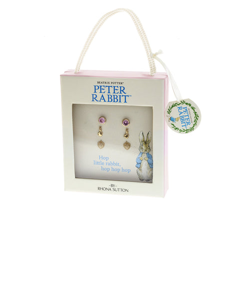 Beatrix Potter Peter Rabbit&Heart Set of 3 Stud Earrings Gold Plated - Rhona Sutton Jewellery