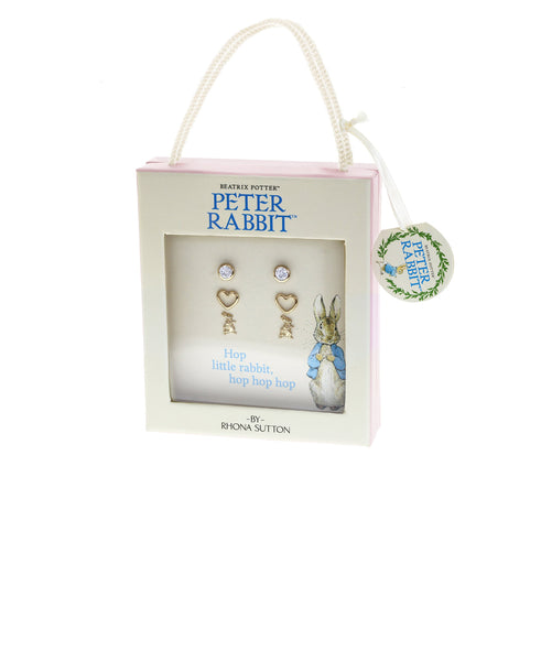 Beatrix Potter Gold Peter Rabbit and Hearts Set of 3 Stud Earrings - Rhona Sutton Jewellery