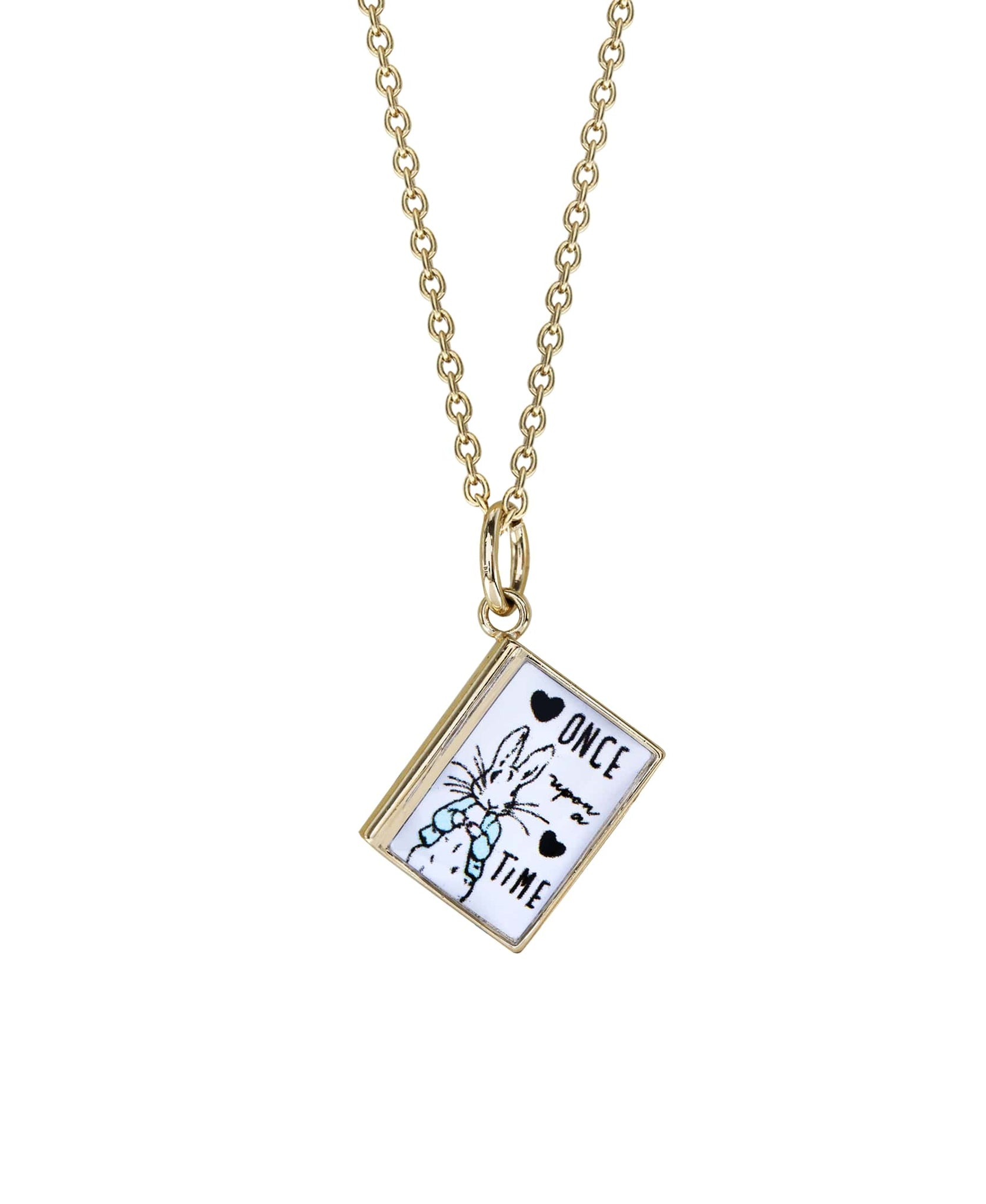 Beatrix Potter Gold Story Book Pendant Necklace - Rhona Sutton Jewellery
