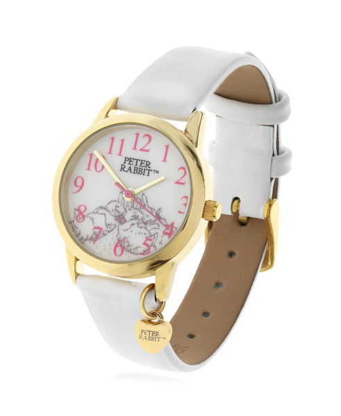 Beatrix Potter Children's Sleeping Bunnies Steel and White Leather Watch - Rhona Sutton Jewellery