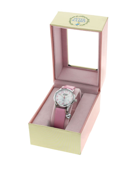 Beatrix Potter Children's Sleeping Bunnies Steel and Pink Leather Watch - Rhona Sutton Jewellery
