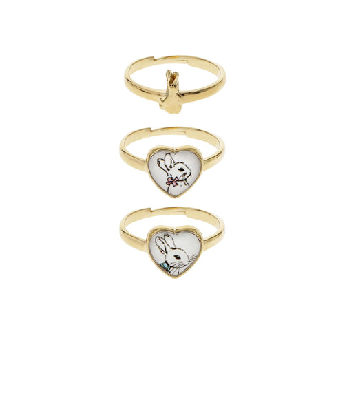 Beatrix Potter Gold Peter Rabbit Set of 3 Rings - Rhona Sutton Jewellery