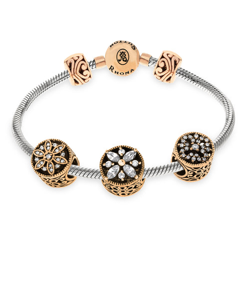 Cubic Zirconia Stone Charm Bracelet Gift Set in Sterling Silver (3 colors) - Rhona Sutton Jewellery